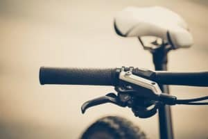 Closeup of bicycle brake lever and gear shifter